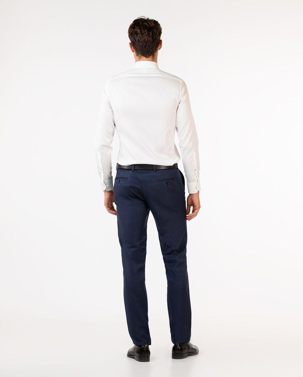 Navy Birdseye Trousers Image 3
