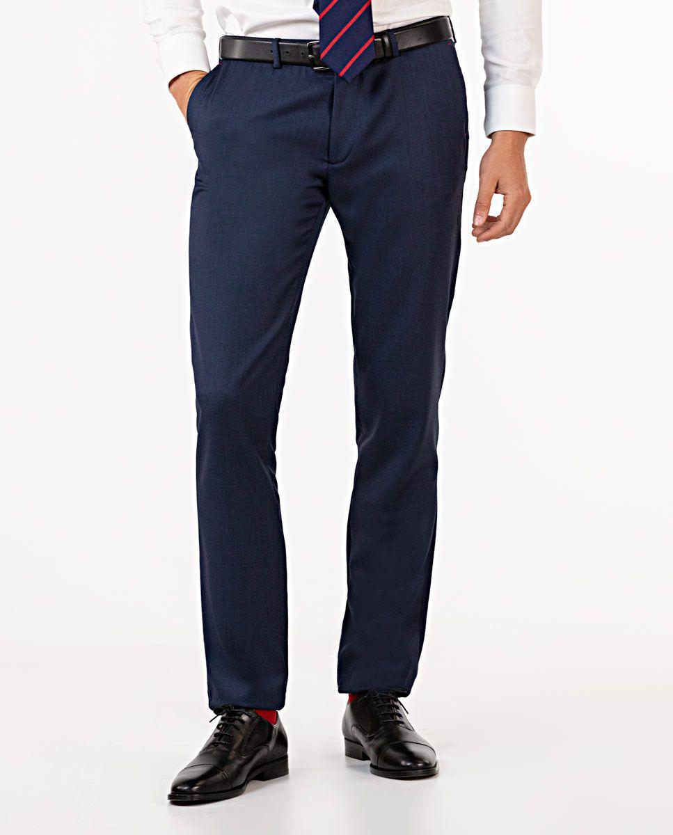 Navy Birdseye Trousers Image 1