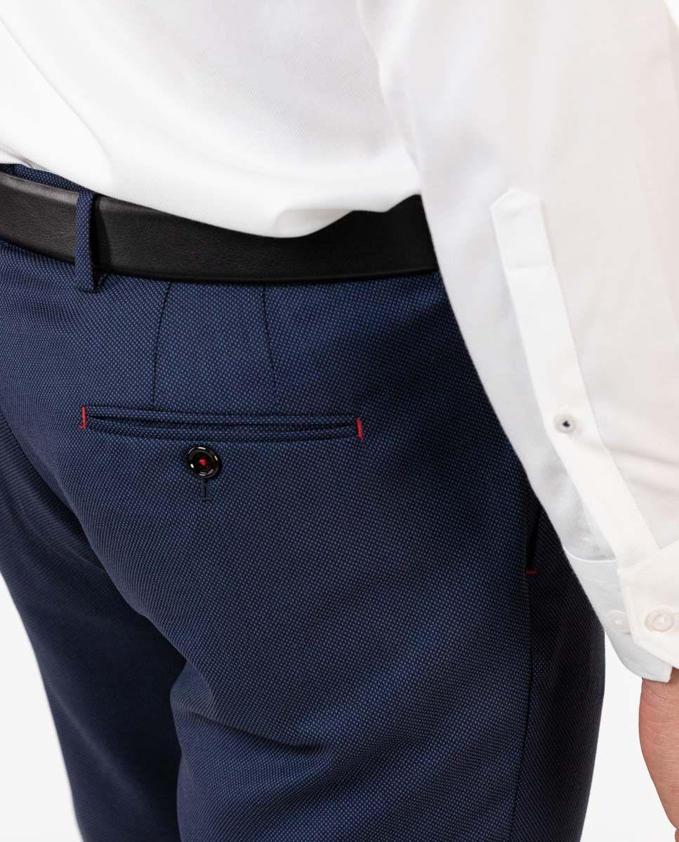 Navy Birdseye Trousers Image 4