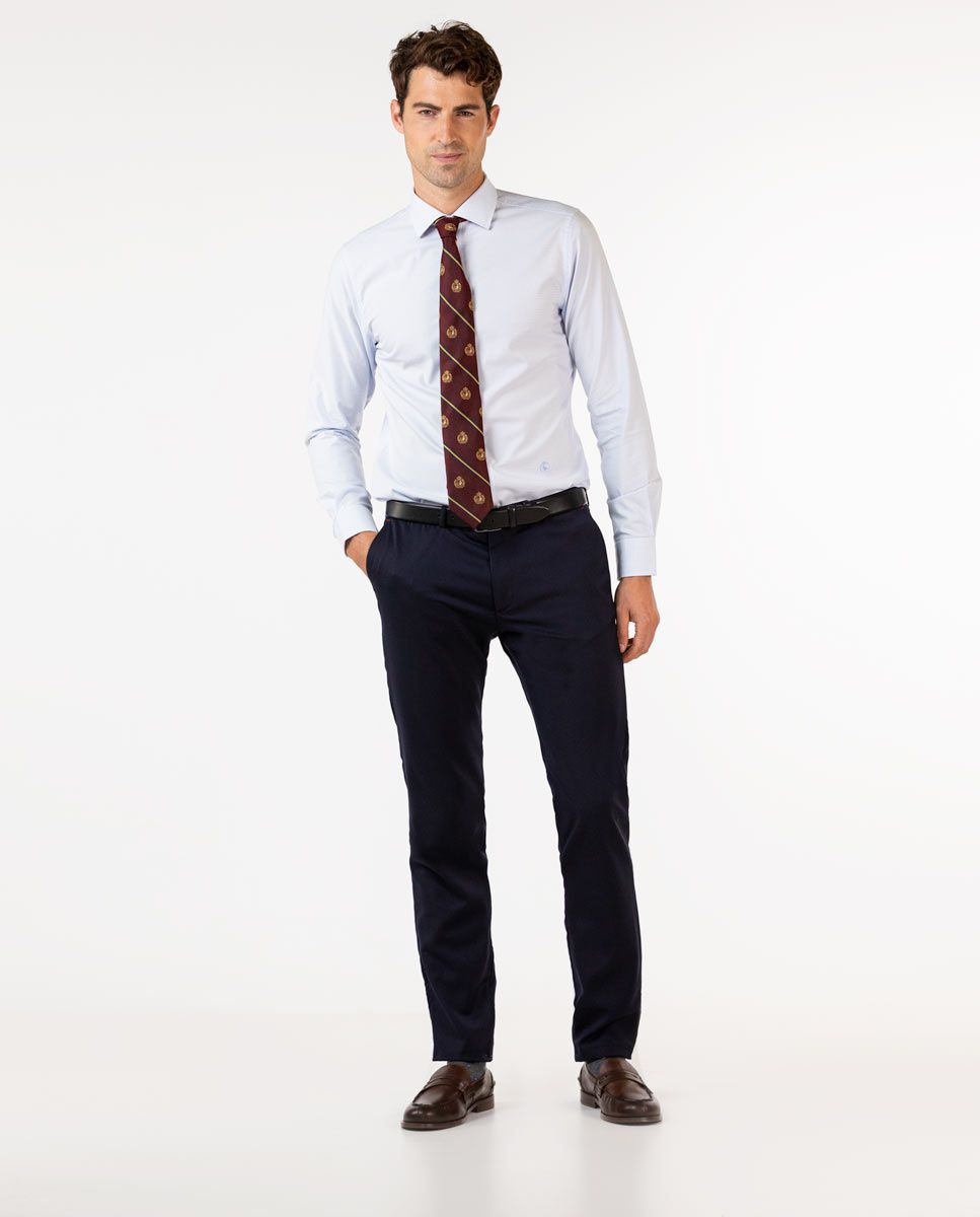 Plain Navy Trousers Image 1