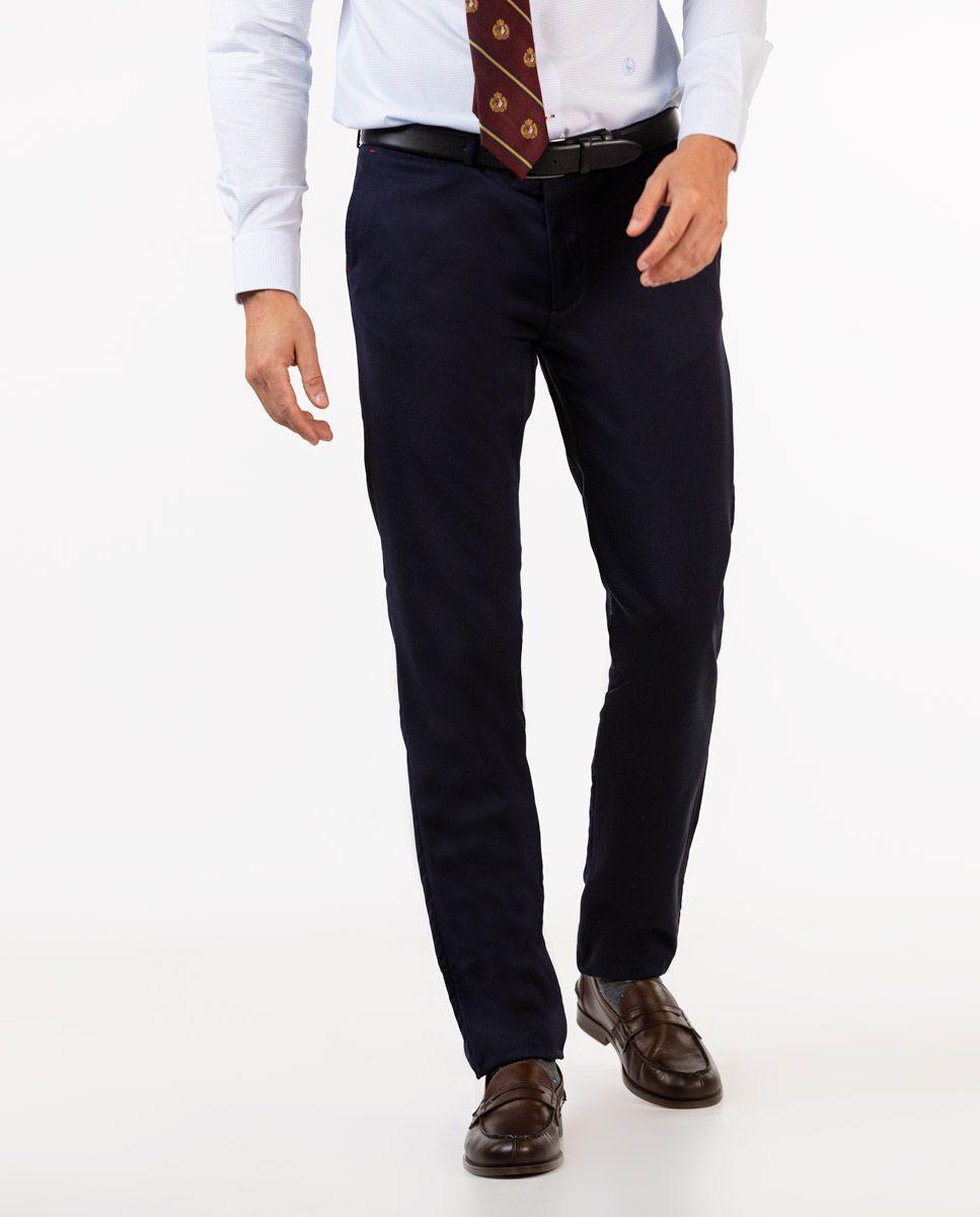 Plain Navy Trousers Image 2