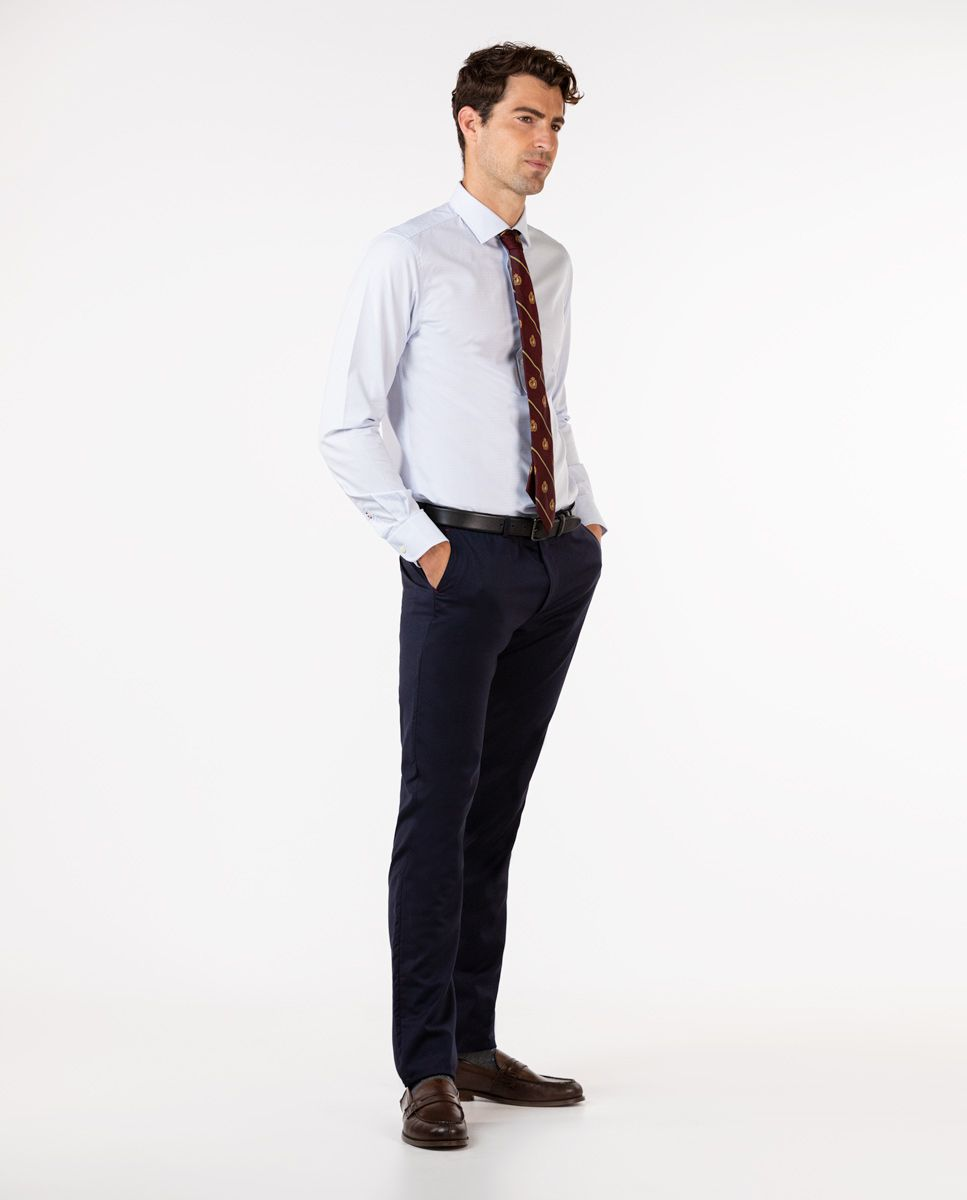 Plain Navy Trousers Image 3