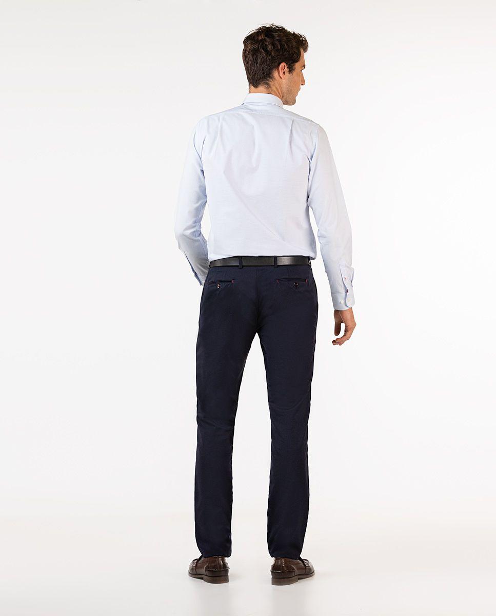 Plain Navy Trousers Image 4