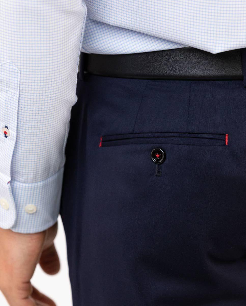 Plain Navy Trousers Image 5