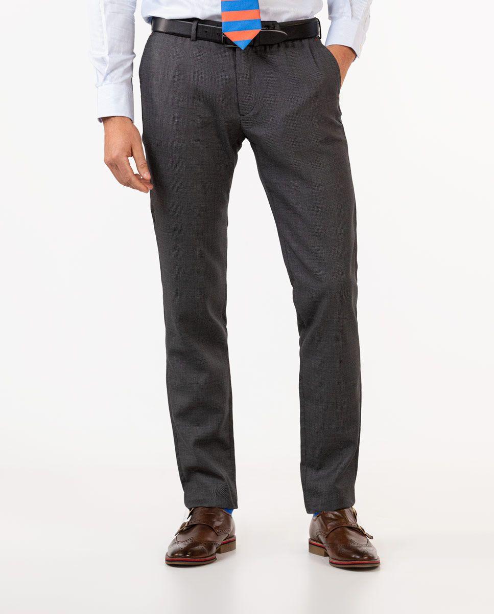 Dark Grey Birdseye Trousers Image 4