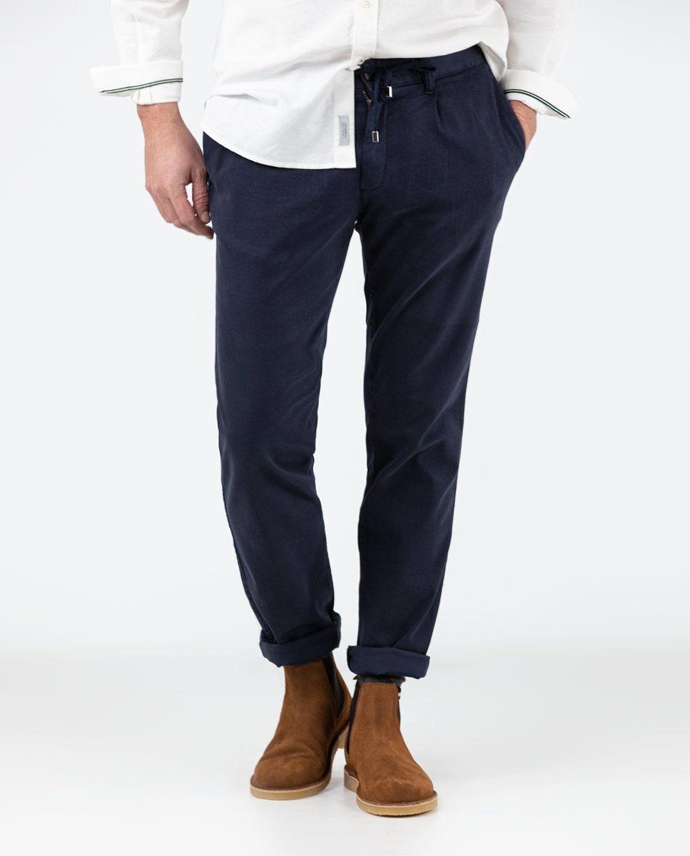 Navy plain Cotton Drawstring Pants  Image 4