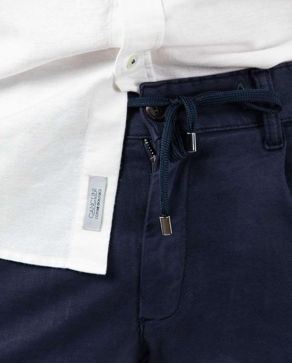 Navy plain Cotton Drawstring Pants  Image 5