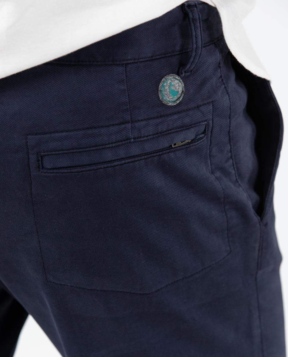 Navy plain Cotton Drawstring Pants  Image 6
