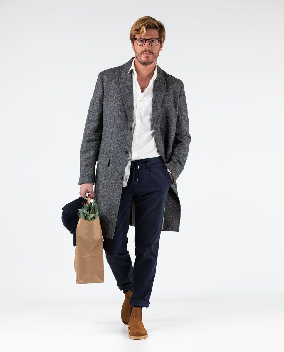 Grey Herringbone tuxedo collar Coat  Image 1