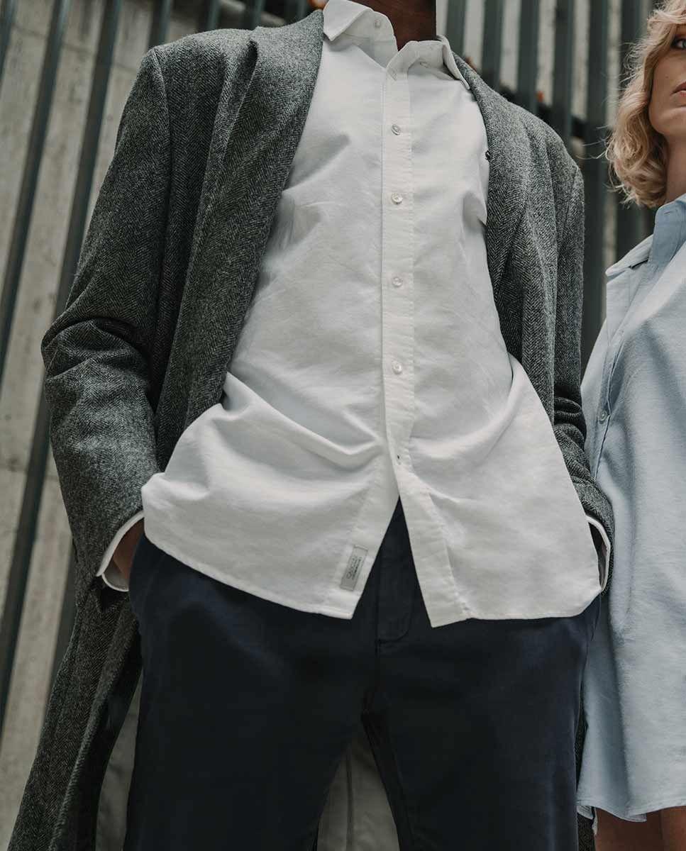 Grey Herringbone tuxedo collar Coat  Image 9