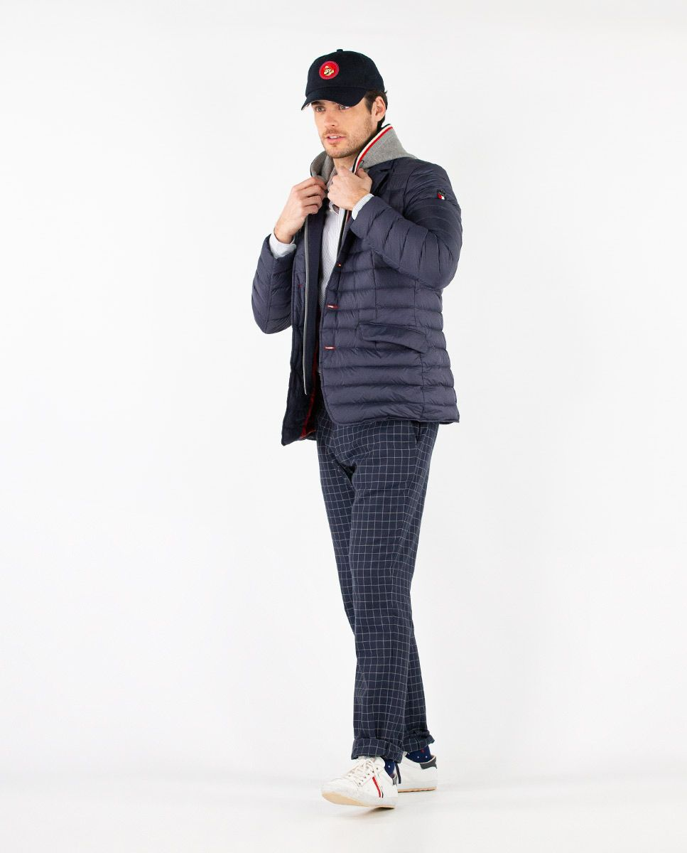Navy Puffer Blazer with Hood Image 2