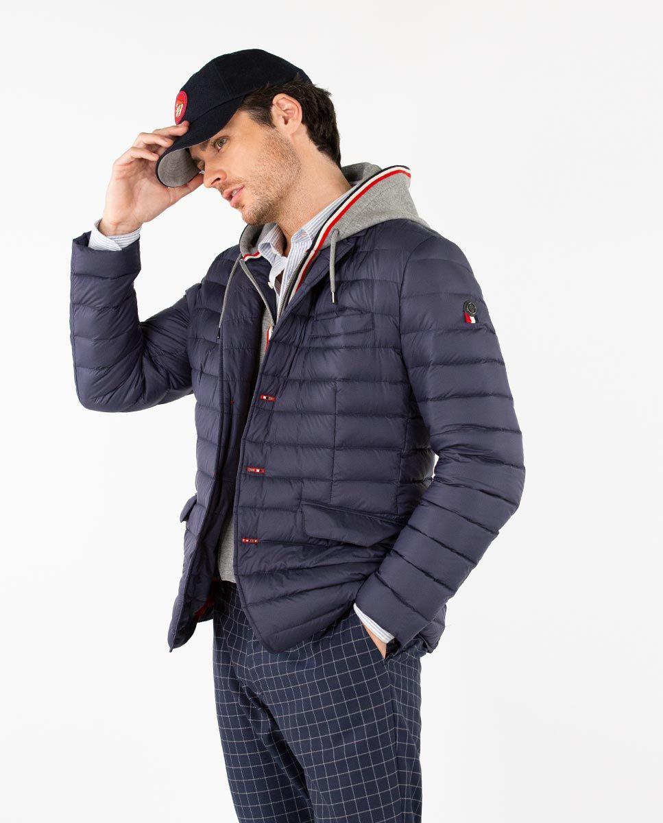 Navy Puffer Blazer with Hood Image 1