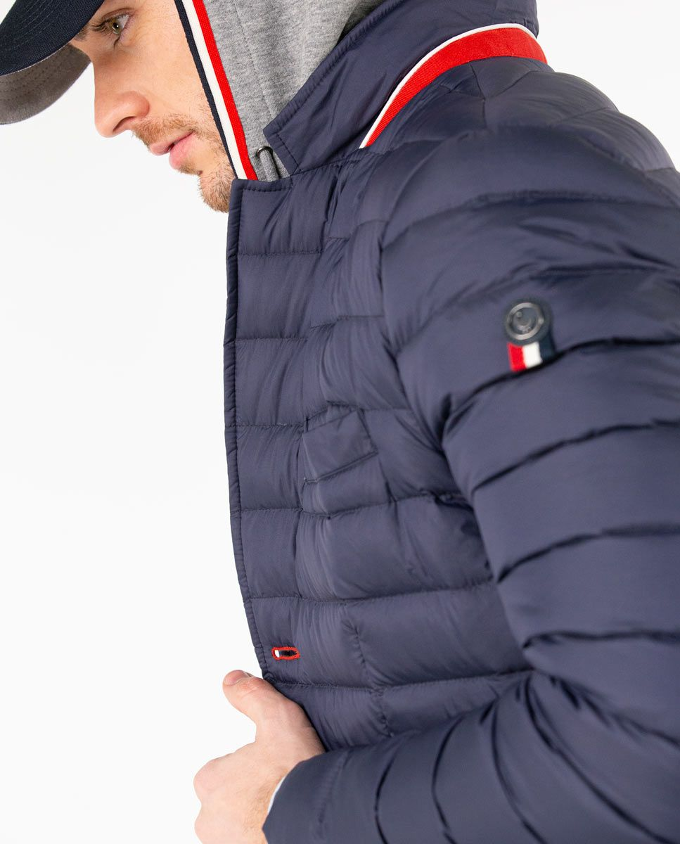 Navy Puffer Blazer with Hood Image 7